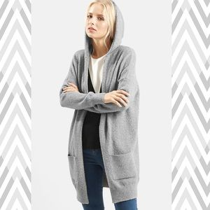 TopShop Long open-front cardigan with hood
